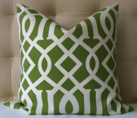 Set of Two Pillow Covers - Imperial Trellis Pillow - Green Pillow - 18x18 or 20x20 - Same PRINT on BOTH sides