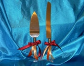 Cake Server set decorated any color or theme such as fall, beach, Asian, Rhinestone, winter or Shown Fall leaf Burgundy orange ivory