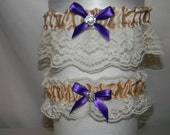 Garter set of two wedding Custom made Champagne Ivory Lace Purple Rhinestone or your colors and or theme  Any size