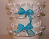 Garter set of two wedding Custom made any colors and or theme  Any size shown white sheer pool blue bow handcuffs