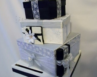 Money Card Box Unique stack of gifts Black white Silver snowflake  any color combination MBWBox