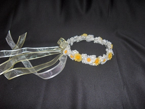 Wedding Flower Girl Halo Wreath White And Yellow With Daisies