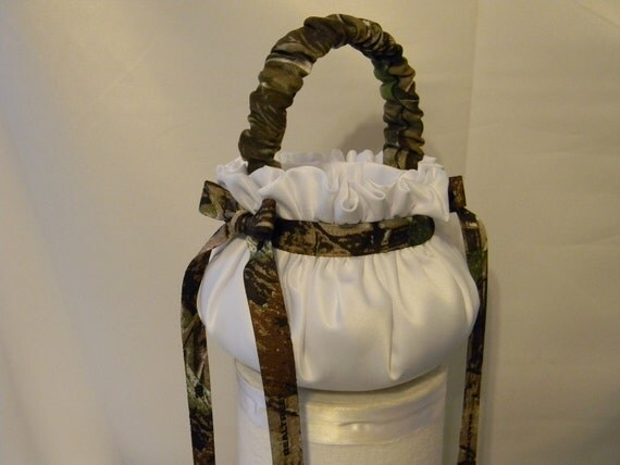Flower Girl Basket Custom made in your choice of any colors and theme  shown camouflage handle white and camo ribbon