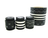 Japanese Washi Tape, Masking Tape Trio - Black and White Stripes, Bows, Lace (5 feet each, 15 feet total)