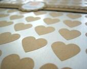 """Kraft Paper Mini Heart Stickers - Set of 108, 0.75"""" x 0.75"""""""