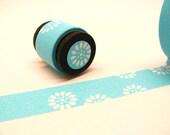 Japanese Washi Masking Deco Tape: Aqua Blue Daisy