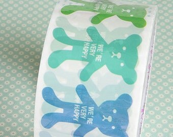 Kawaii Happy Bear Wide Deco Tape - 5cm x 15m (49 ft) - Sale