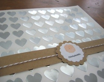 "108 Silver Heart Stickers, Silver Foil Heart Seals, Heart Seal - 3/4"" x 3/4"""