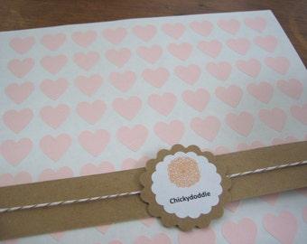 "108 Pink Heart Stickers, Custom Stickers - 3/4"" x 3/4"""