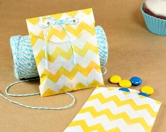 Yellow Chevron Favor Bag, Yellow Gift Bag, Chevron Favor Bag, 2.75 x 4, Set of 20