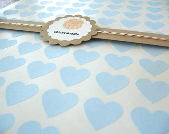 "Small Pastel Blue Heart Stickers, Custom Printed Stickers - Set of 108, 0.75"" x 0.75"""
