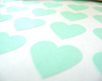 "Pastel Green Heart Stickers, Custom Stickers - Set of 108, 0.75"" x 0.75"""