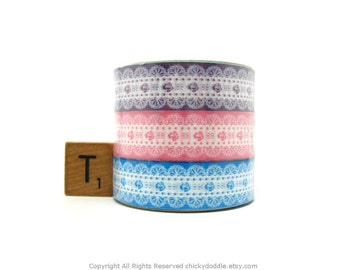 Kawaii Rose Pattern White Lace on Purple, Pink, and Blue Deco Tape Set of 3 by Prime Nakamura