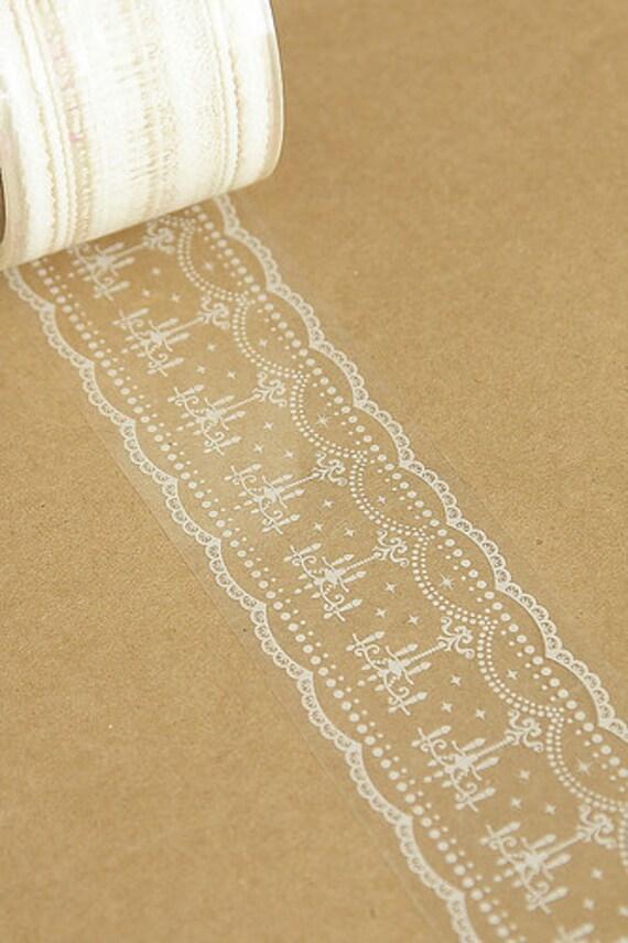 Transparent Wide Lace Deco Tape Pattern No. 10 - 4.8cm x 15m (49 ft)