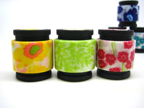 Japanese Washi Tape Masking Tape Trio -  Yellow/Green/Red Bouquet (5 feet each, 15 feet total)