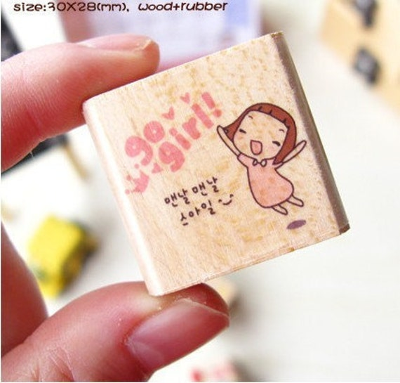 Cute Pony Brown Wood Mounted Rubber Stamp - Go Girl