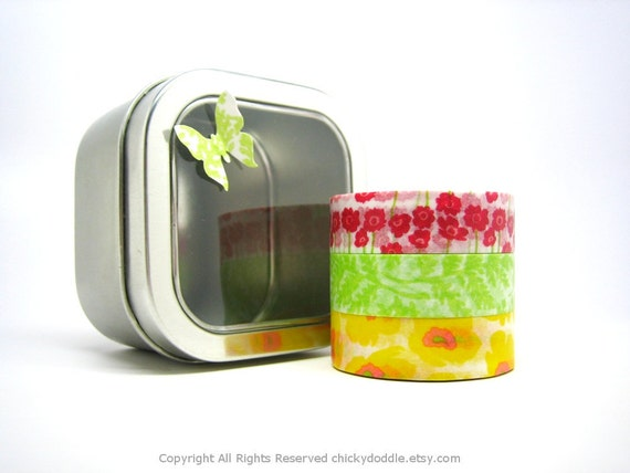 Yellow, Green, Red Bouquet Japanese Tape Set of 3