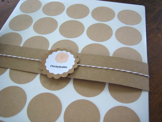 Circle Kraft Labels 1.5 Inches - Set of 60