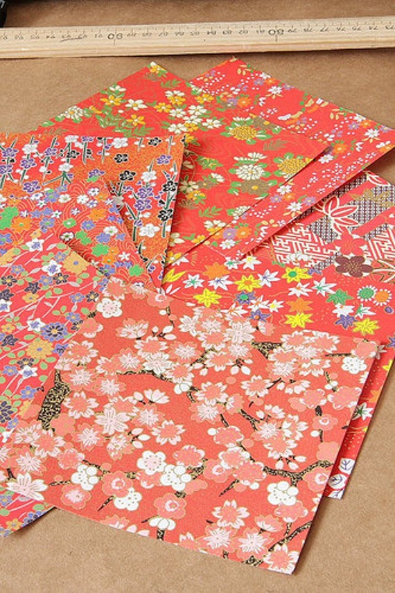 """Japanese Chiyogami Craft Paper, Origami Paper 5"""" x 5"""" Set of 8 - Pattern 04"""
