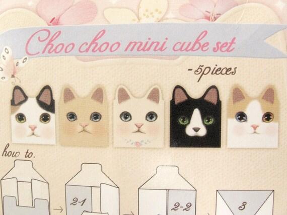 Kawaii Choo Choo Cats Mini Storage Cube Set Desktop Organizer (5 Pieces) - Pattern B