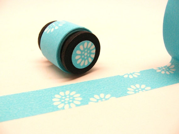 Japanese Washi Masking Deco Tape: Aqua Blue Daisy