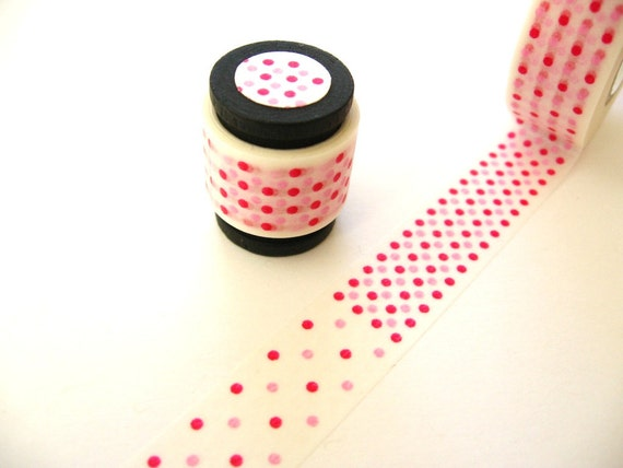 Washi Tape Mini Roll: Red and Pink Polka Dots