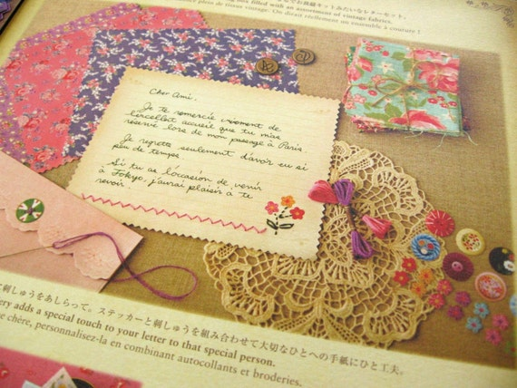 Coffret au Couturier Vintage Fabric Pattern Note Set with Button Stickers and Vintage Address Labels