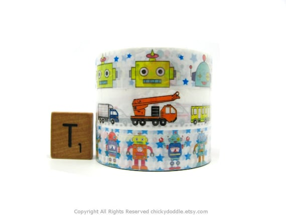 Kawaii Robots and Vehicles Deco Tape Set of 3 by Prime Nakamura