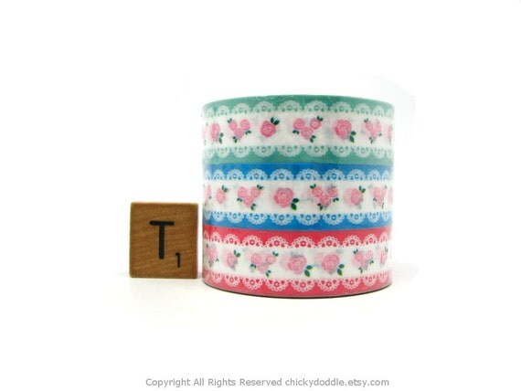 Kawaii Pink Roses and White Lace on Muted Green, Blue, Hot Pink Deco Tape Set of 3 by Prime Nakamura