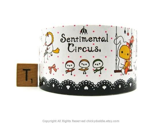 Kawaii Rilakkuma Black and White Lace Sentimental Circus Wide Paper Craft Tape - 4.8cm x 5m (16 ft)