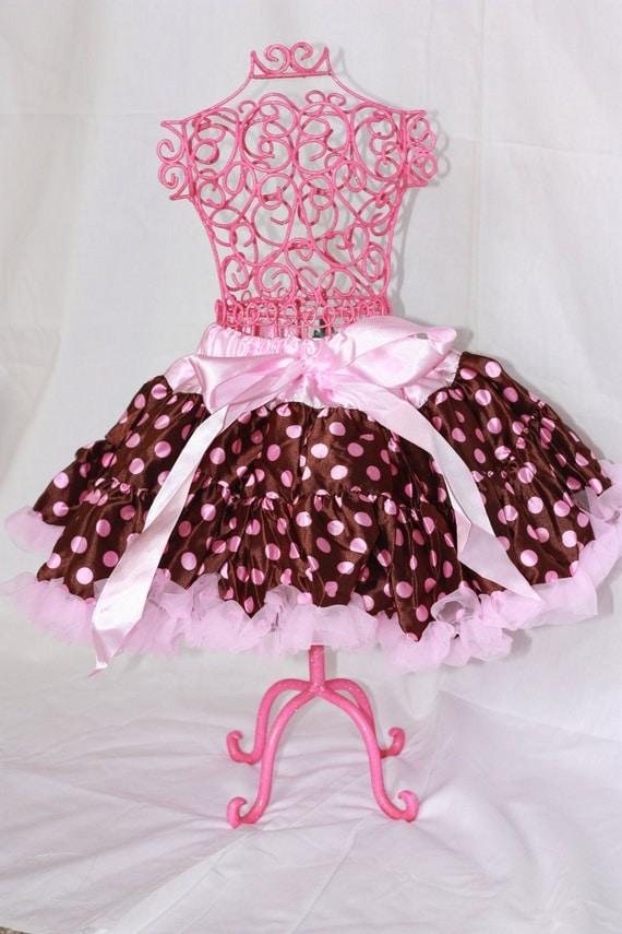 Light pink and brown polka dot pettiskirt size small