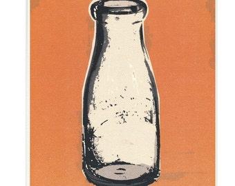 CLEARANCE - Vintage Milk Bottle Orange Kitchen Decor Print