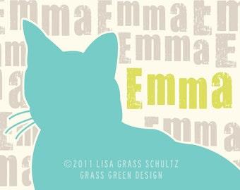 Custom Cat Silhouette Print 8x10 - The PERFECT GIFT