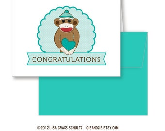 Sock Monkey Congratulations New Baby A2 Greeting Card