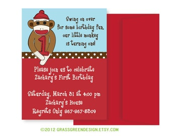 Sock Monkey Birthday Invitation - 15 Custom Invitations with Envelopes