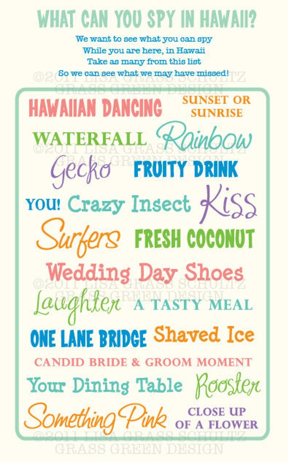 Printable I Spy Hawaii (Or Any Location) Destination Wedding Photo Scavenger Hunt Game