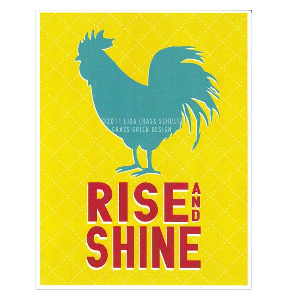 CLEARANCE - 8x10 Rise and Shine Aqua & Red Rooster Retro Style Print