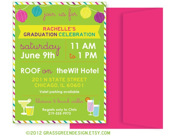Beach Party, Summer Party, Graduation, Cocktail Party Invitation - 15 Custom Invitations with Envelopes
