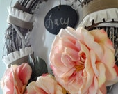 Shabby Chic Pink Rose & Ribbon Wreath with Chalkboard