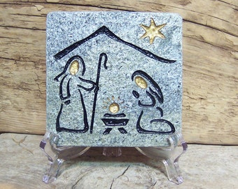 NATIVITY  Enchanting, Natural 4x4 in. engraved Stone TILE