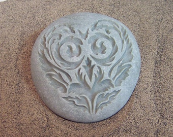 Engraved River Stone Damask Valentines Heart