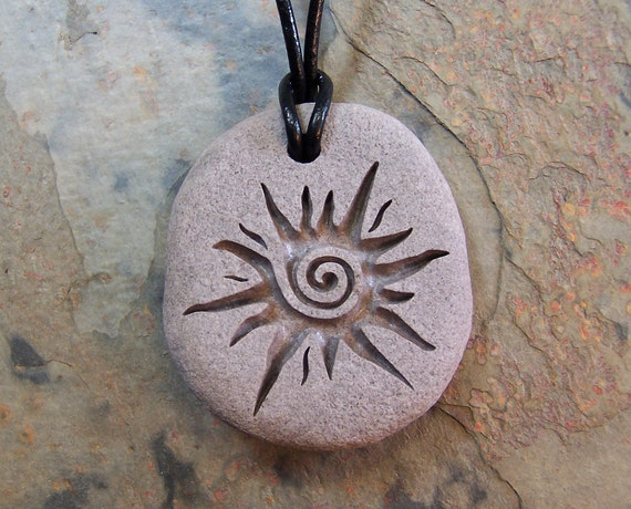 Items Similar To Natural River Rock Necklace Engraved With