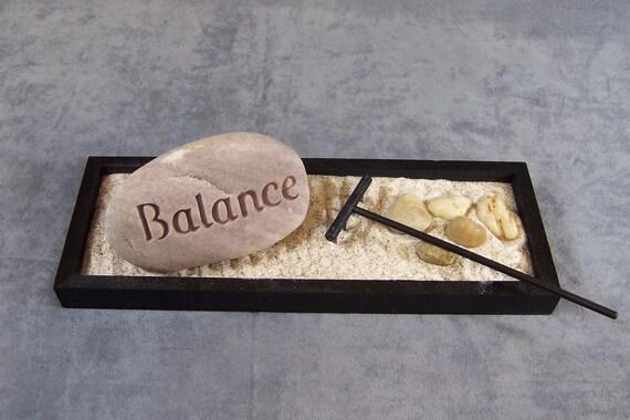 Engraved Rock Zen Garden with 1 BALANCE  Stone