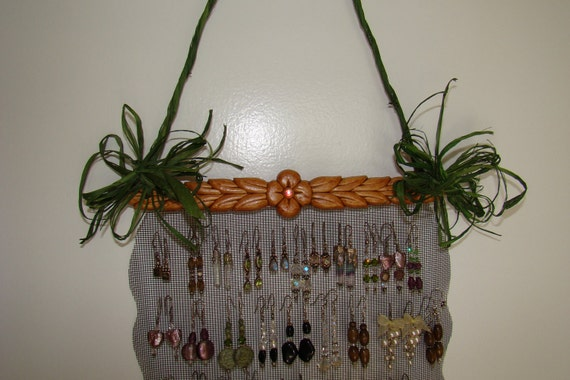 Spicy Pecan and Green Jewelry Holder Display Organizer
