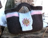 Charcoal Gray Minty Blue Green and Pink Bag with needle-felted design and vintage pin