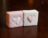 A dozen marshmallows with heart bursts (strawberry & passion fruit)