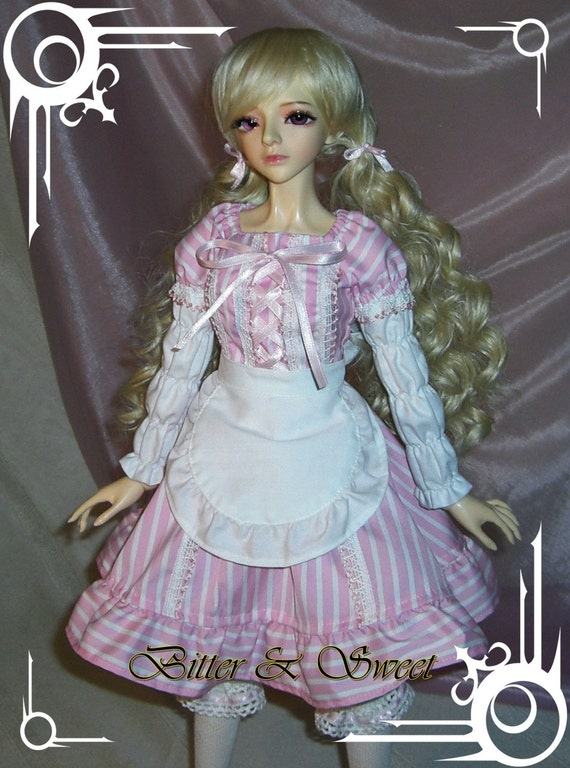 bjd dollfie (Bitter & Sweet) Candystripes maid lolita outfit pink