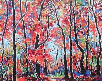 Autumn's Footprints, an Original Landscape Painting by Sara Larson Art