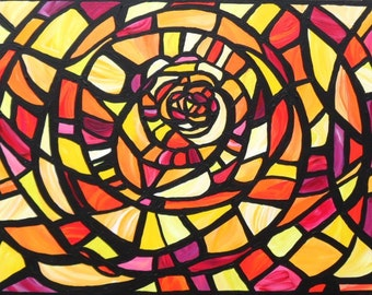 Beam ... an Original Abstract Sara Larson Art Painting with a Stained Glass Effect