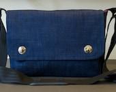 Denim Messenger Bag with shoulder strap - fabric satchel for Tablet, Camera,etc